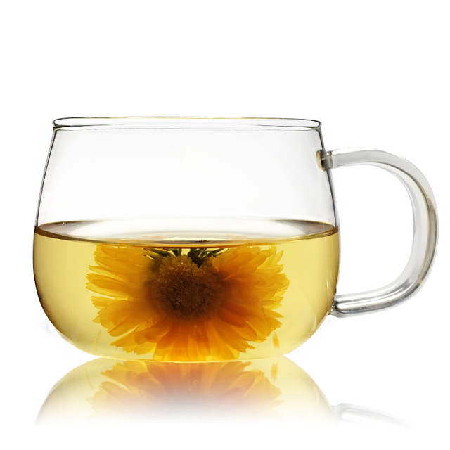 300ml Heat Resistance Gl Mug Clear Round Tea Cup Coffee Mugs Milk Flower