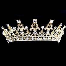 Pageant Prom oro novia de la boda Vintage Imperial Medieval Tiara Crown Crystal Rhinestone princesa pelo de la novia accesorios