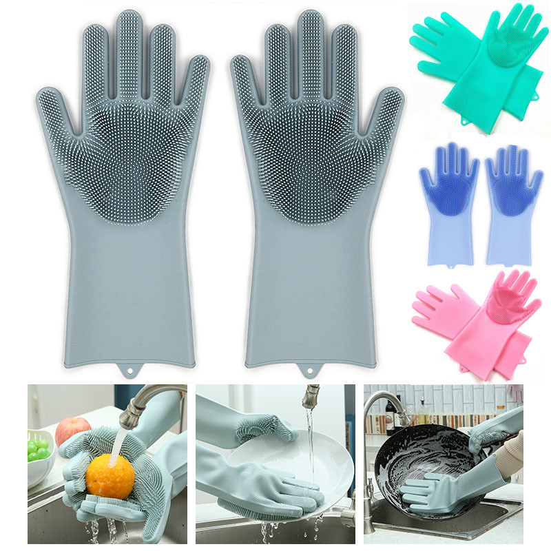 Srubby For Kitchen: 2Pcs Dishwashing Silicone Cleaning Gloves With Wash