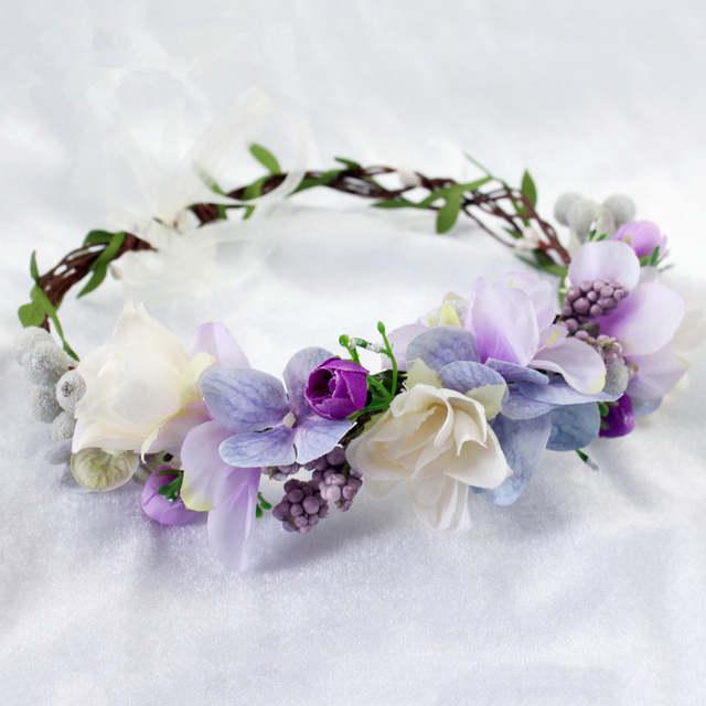 placeholder 2018 Bride Wedding Flower Headband Wreath Hairband Party Flower  Girl Hair Accessories Flower Crown garland Flower 432eecdecaf