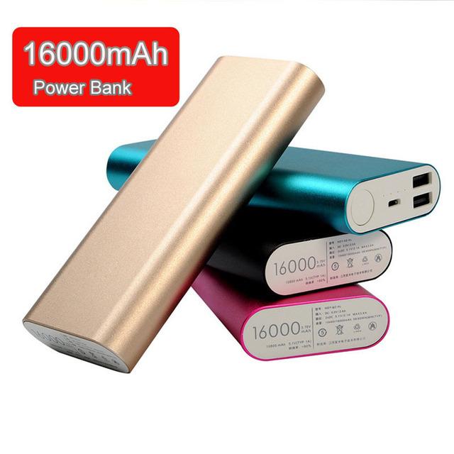 Saída usb duplo 16000 mah power bank carregador portátil de bateria externa para xiaomi iphone samsung celulares e tablet