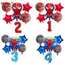 "6pcs/lot Spiderman Foil Helium Balloons 30"" Red Number Party Inflatable Ball Birthday Party Decoration Kids Toys Star Globos(China)"