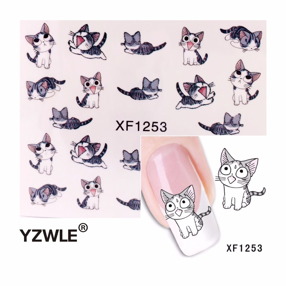 YZWLE 1 Sheet Nail Art Water Transfer Sticker Decals Cute Cats New Stickers Decorations Watermark Tools for Polish ds300 2016 new water transfer stickers for nails beauty harajuku blue totem decoration nail wraps sticker fingernails decals