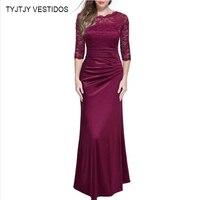 2017 Woman Summer Long Dress Elegant Plus Big Size Vintage Lace Bodycon Dresses Evening Party Femme