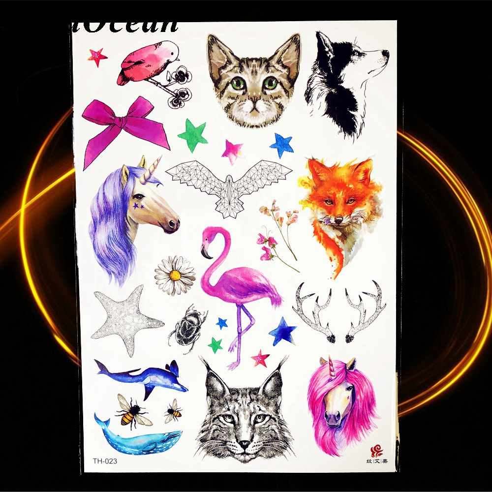 d45308c30 ... Animal World Temporary Tattoo Stickers Watercolor Owl Swan Horse Fake  Tattoos Beauty Cartoon Kids Girls Boys ...