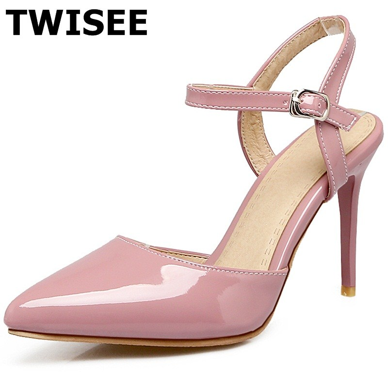 ФОТО point toe pu leather Buckle Strap summer sandals ladies women shoes sandals Solid Thin Heels woman dress shoes Comfortable