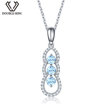DOUBLE-R Genuine Natural Blue Topaz 3 Stone Pendant Necklace 925 Sterling Silver fine jewelry for women sterling-silver-jewelry