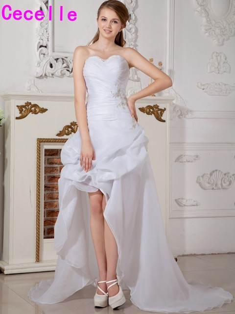 High Low Reception Wedding Dresses Modern White Hi Lo Bride Dresses ...