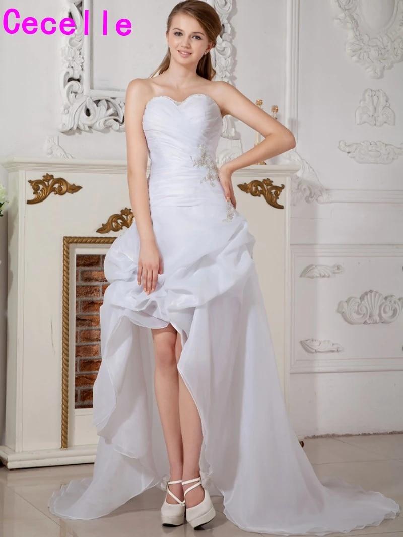 High Low Reception Wedding Dresses Modern White Hi Lo Bride Dresses Short  Front Long Back Second Wedding Gowns Custom Made 20