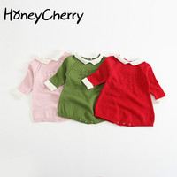 Lovely, Sweet Wind, Knitted Knit Clothes, Open Clothes, Ha Clothes, Baby, Children's Skirts, Triangular Clothes Bodysuit Baby