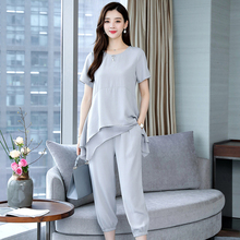Plus Size 3XL 4XL 5XL Summer 2 Piece Set Women Outfit Tracksuit for Wide Pants and Top 2019 Gray Chiffon Clothing