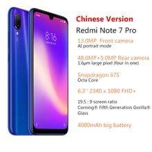 Original Xiaomi Redmi Note 7 Pro 6GB 128GB Snapdragon 675 Mobile Phone Octa Core 4000mAh 6.3″ 2340*1080 48MP+5MP Cellphone