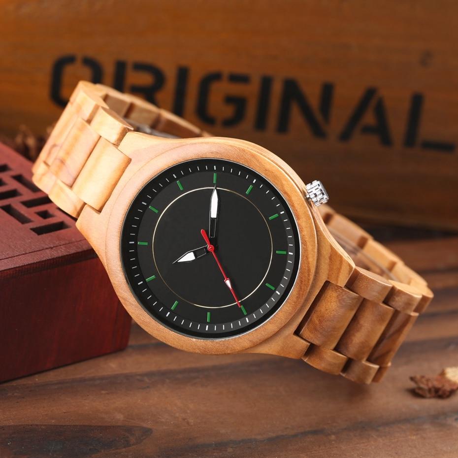 Wooden Watch Men's Creative Red Pointer Green Scale Round Analog Watch Natural Ebony Band Clock Man Fashion Quartz Wristwatches 2018  2020  (20)