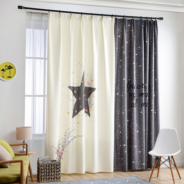 Single Panels Digital Printed 3d Curtains For Bedroom Window Decoration  Nordic Style Star Pattern Living Room