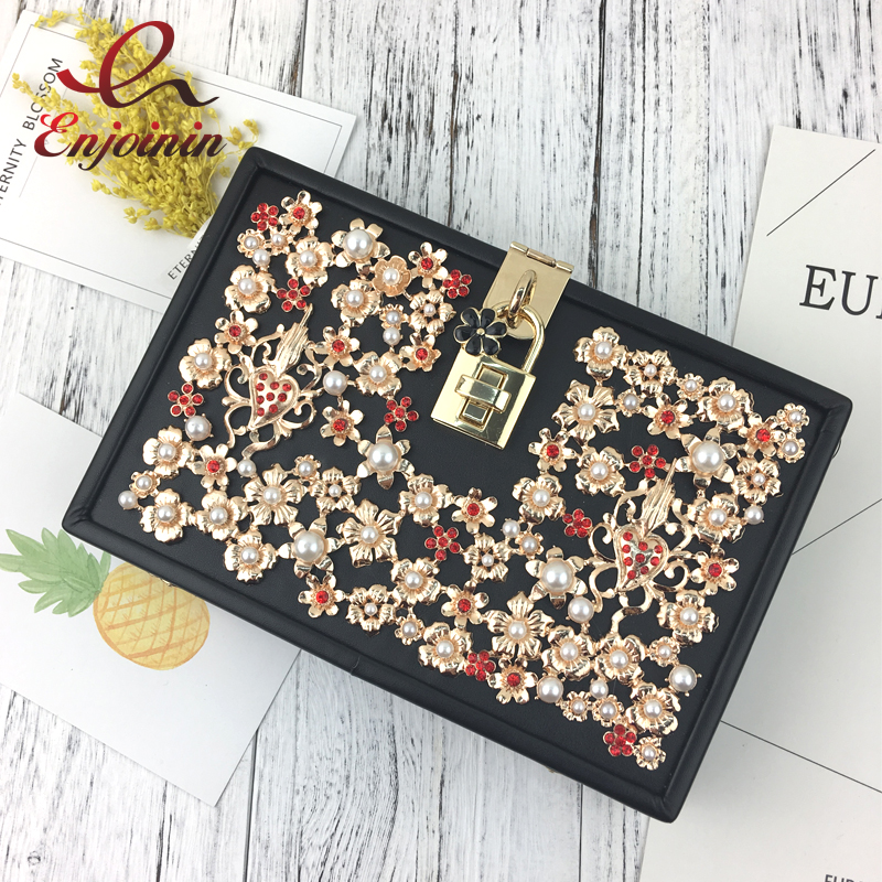 Luxury fashion diamond pearl gold flower lock ladies party dinner clutch bag evening bag shoulder bag handbag messenger new arrived ladies pu leather retro handbag luxury women bag evening bag fashion black pearl chain shoulder bag party clutch bag