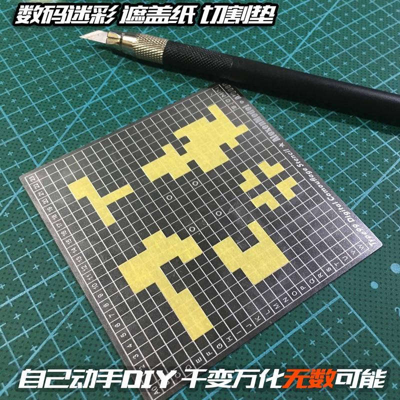 Acciaio Scanalatura Tipo Camouflage Digitale Nastro Adesivo di Taglio Pad Due Lati A Spruzzo Modello Rendendo Strumenti