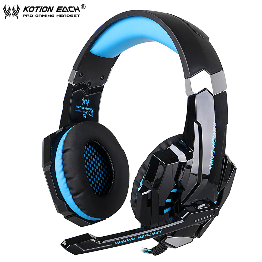 KOTION EACH G9000 Wired Gaming Headphone Earphone Gamer Headset Stereo Sound with Microphone LED Audio Cable for Desktop/PC Game mvpower stereo gaming headset super bass wired headphone with microphone for sony playstation 4 for ps4 for ps3 game earphone