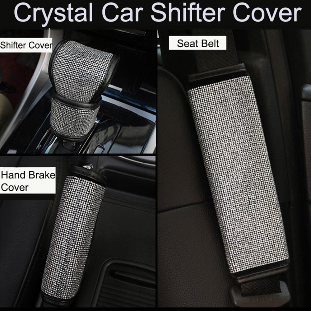 2Pcs/3pcs/Set Crystal Diamond Car Handbrake Cover Gear Shifter Knob Cover Auto Shiny Hand Brake  Seat Belt Cover Car Accessories