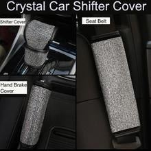 2Pcs/3pcs/Set Crystal Diamond Car Handbrake Cover Gear Shifter Knob Auto Shiny Hand Brake  Seat Belt Accessories