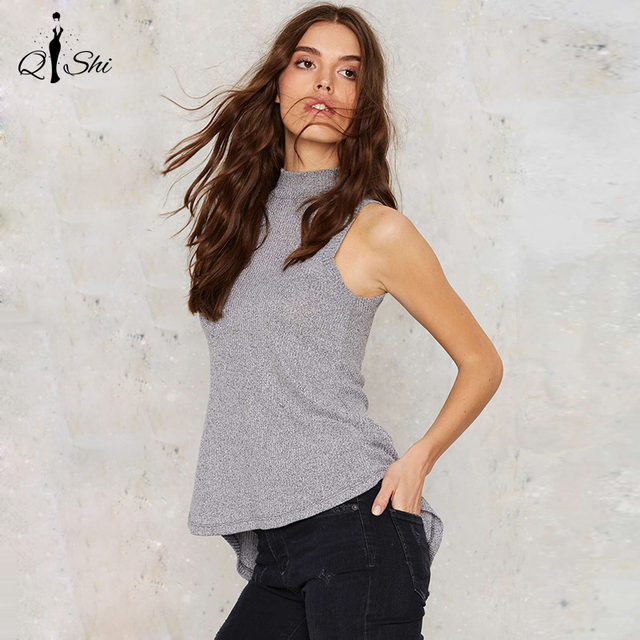 New Women Thank Solid Gray Backless Knitted Loose Tee Back Hollow Out Sleeveless Slim T-shirt Turtleneck Casual Soft Women Tops