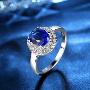 Круглый мульти-дрель сапфировый синий AAA циркон когти набор с натуральными камнями вечерние ювелирные изделия для женщин кольцо мода новый ...