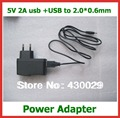 5V 2A USB Wall Charger Power Adapter + USB Male to DC 2.0*0.6mm Lead Charger Cable Tablet Battery Charger Power Supply EU US UK
