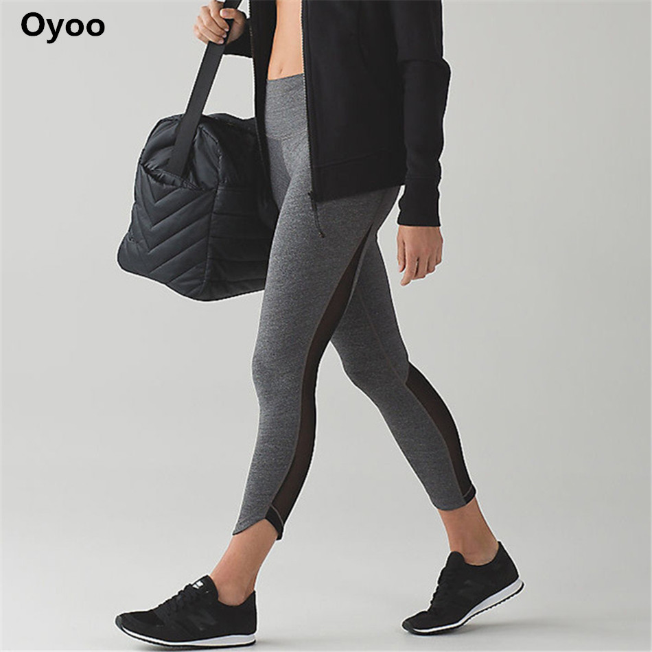 Oyoo Mesh Yoga leggings with pocket compression tranning sport pants fitness leggings women running tights capris drop shipping