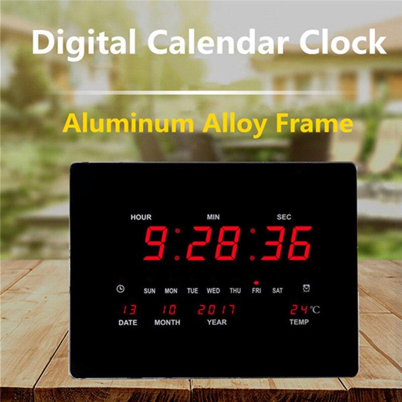 Большие светодио дный светодиодные цифровые настенные часы ЕС штекер питания кристалл электронный календарь цифровой будильник настольны...
