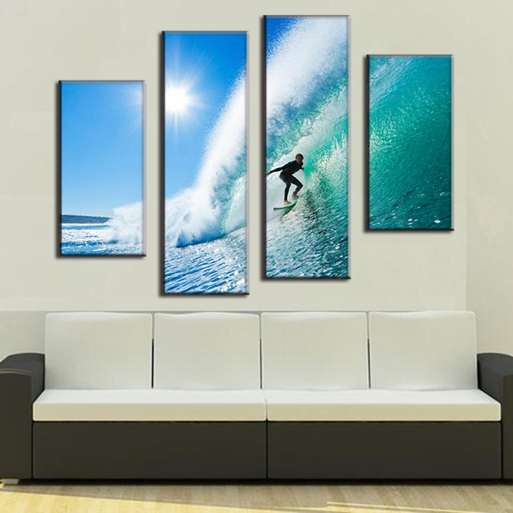 Buy 4 pcs set modern seascape canvas for Canvas prints to buy