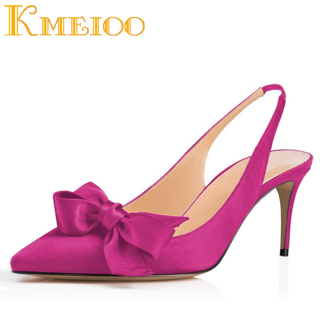 b5e66d1f74e3 Kmeioo 2018 Fashion Women Shoes Bowknot Kitten Heels Pointed Toe Slingback  Med Heels Evening Wedding Shoes 6.5CM