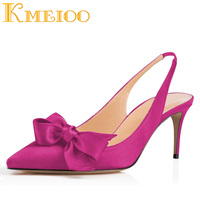 Kmeioo 2018 Fashion Women Shoes Bowknot Kitten Heels Pointed Toe Slingback Med Heels Evening Wedding Shoes 6.5CM