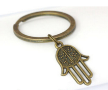 50pcs New Fashion Jewelry Vintage Bronze Hamsa Hand Charm Steampunk Keychain DIY Keyring Accessories Free Shipping S729