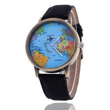 Высокое качество Женская мода Повседневная часы карта мира Дизайн платье дамы кварцевые часы Аналоговые кожа Для женщин подарок Для женщин часы # D
