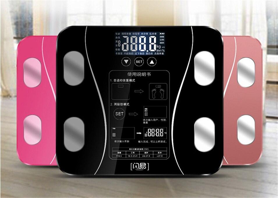 Corps graisse numérique salle de bains poids balances électroniques balance domestique intelligente perdre des échelles de poids pas besoin d'utiliser APP - 2