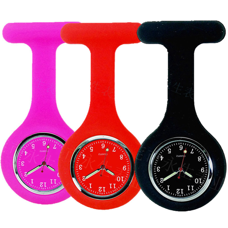 New colorful silicone rubber female soft pin nurse FOB pocket watch unisex ladies women doctor medical