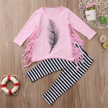 Püskül Kız Üst T-shirt Uzun Kollu Çizgili Pantolon Çocuklar Bebek Kız Giyim Setleri Pamuk Sevimli dış giyim Seti Toddler