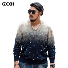 2017 GxxH brand Large size 6XL 7XL Printing Sweater Autumn and Winter Men's Round Neck Loose Treasure Blue Casual Thick Pullover