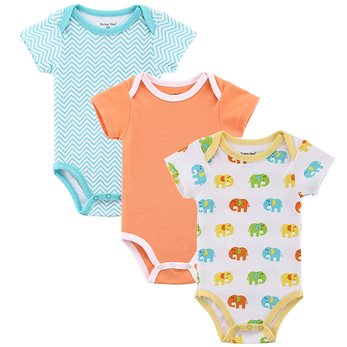 Mother nest 3pcslot Baby Boy Girl Clothes Short Sleeve Leopard Print 2017 Summer Baby Romper Newborn Next Jumpsuits & Rompers (6)