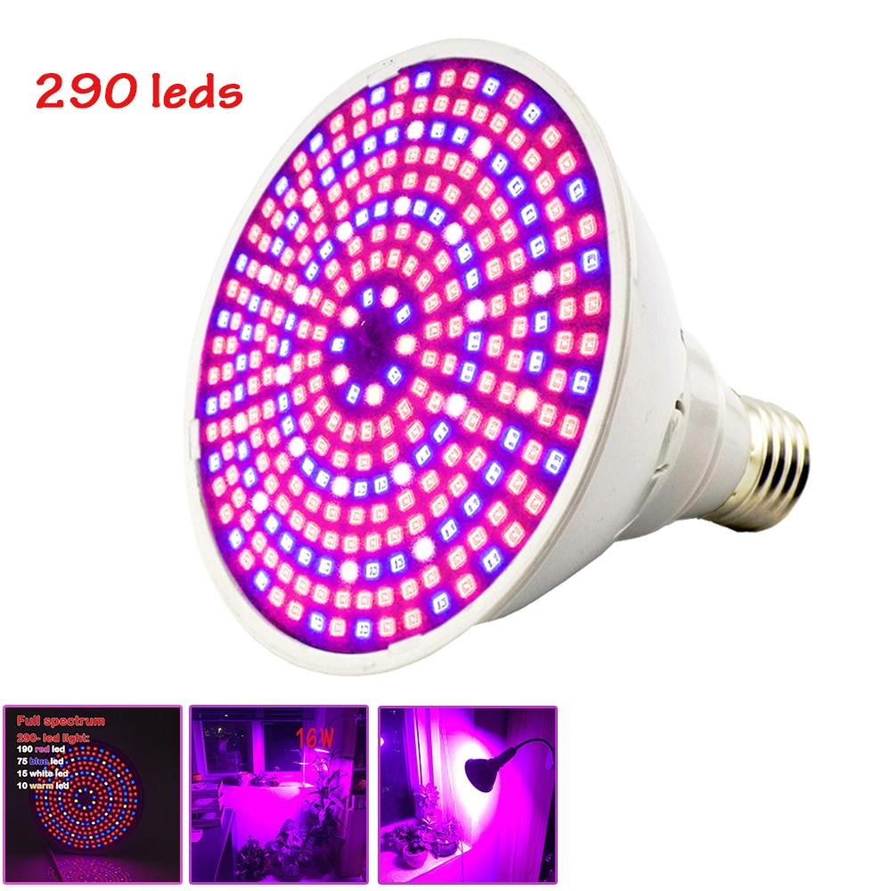 Full Spectrum 290 LED Grow Light E27 Bulb Plant Growing Lamp Hydroponic System For Indoor Seeds Flower Vegetable Plants Lighting