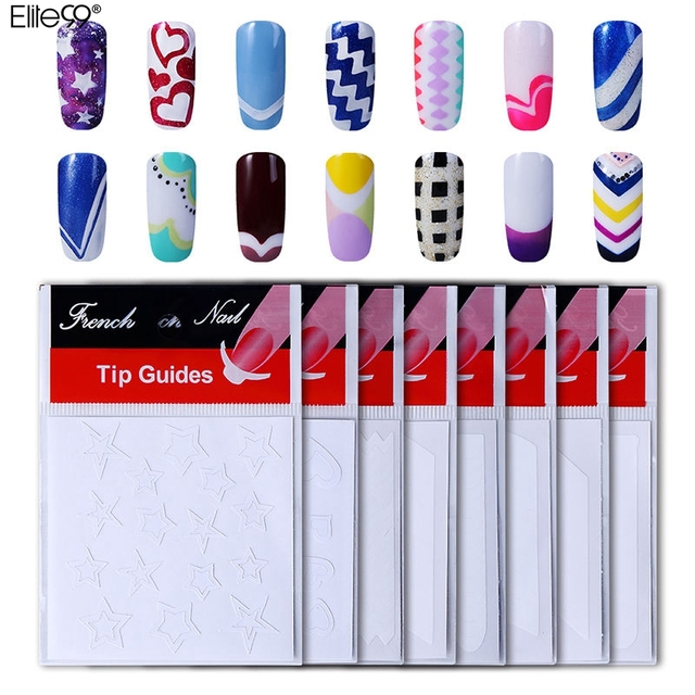 Elite99 French Manicure Nail Art Form Finger Guides Sticker French ...