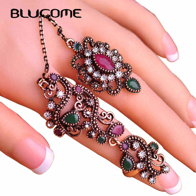 Blucome New Arrival Adjustable Turkish Two Finger Rings For Party Women Red Resin Hollow Out Flower Vintage Ring Anel Jewelry