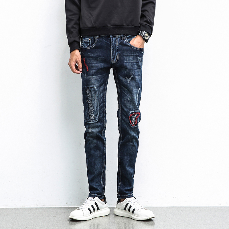Fashion new mens blue jeans embroidered tight hole jeans stretch mens Slim machine washable worn jeans