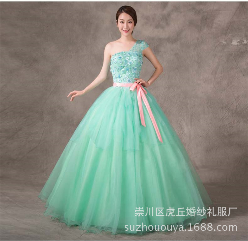 2019 New Design One Shoulder Princess Sequined Organza Long Affordable Mint Quinceanera Dresses Women Vestidos
