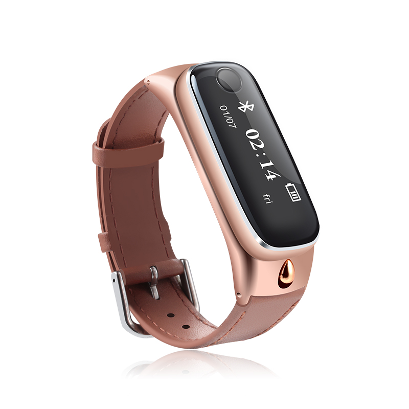 Bluetooth Headset Earphone LED Screen Genuine leather Belt Smart Band Alarm Pedometer Bracelet For iPhone Android