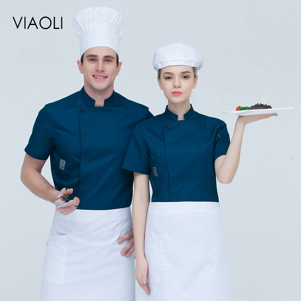 Short Sleeve Chef Cooking Workwear Chef Uniform High Quality Catering Restaurant Coffee Shop Waiter Uniforms Casual Tops Aprons