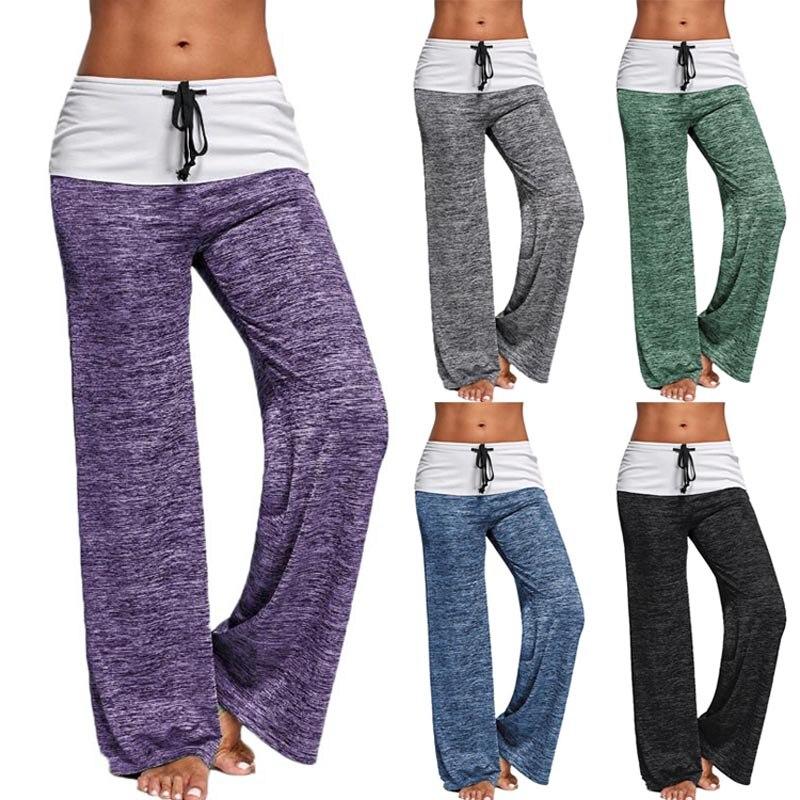 Summer Women   Wide     Leg     Pants   Drawstring High Waist Casual Tie Trousers FS99