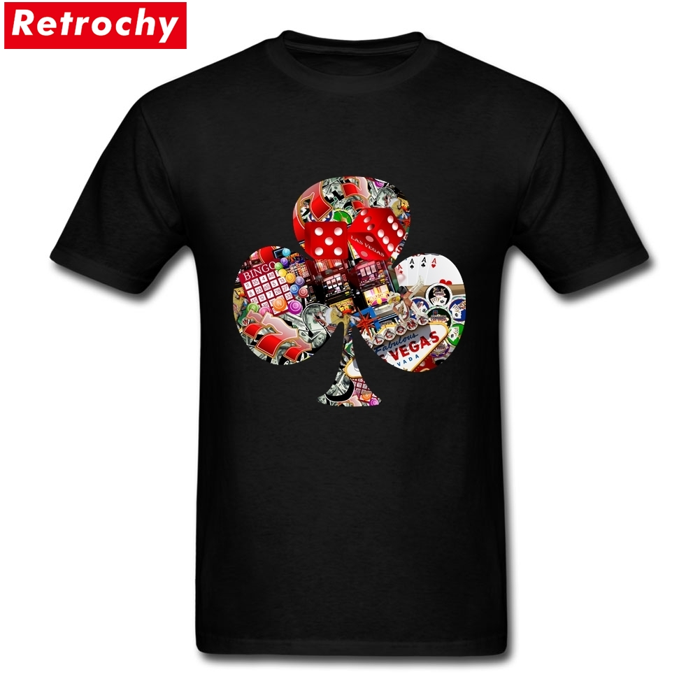 Club Playing Card Shape Tees Shirt Mans Online Short Sleeve Crewneck Cotton Tees Shirt XXXL
