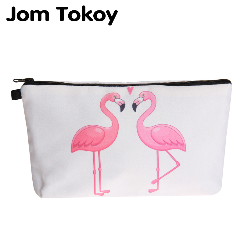 Jom Tokoy  New Cosmetic Bag Fashion Women Brand Makeup Bag Heat Transfer Printing Love The Flamingo Cosmetic Organizer Bags