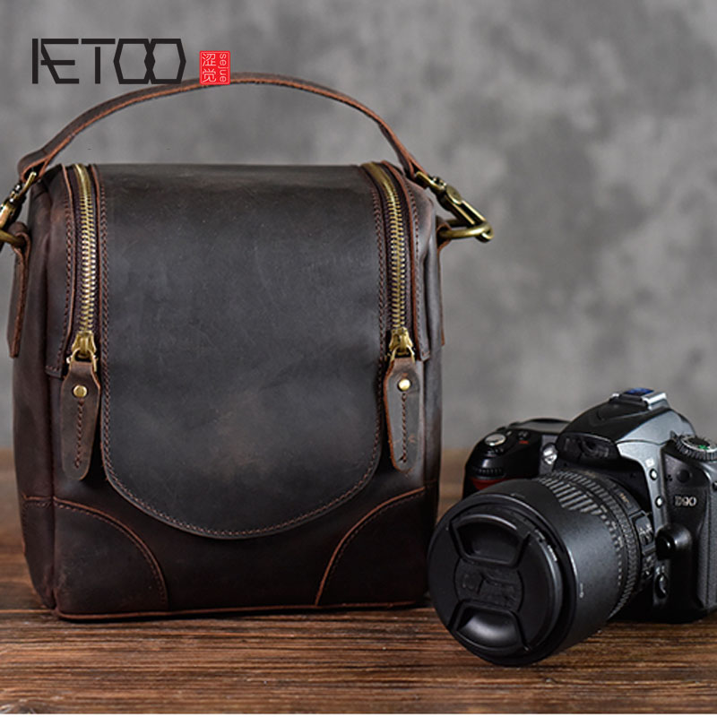 AETOO Crazy horse leather camera bag leather retro literary first layer leather shoulder slung men and women photography bag new crazy horse leather bag travel bag men and women handbag first layer leather retro handmade shoulder diagonal