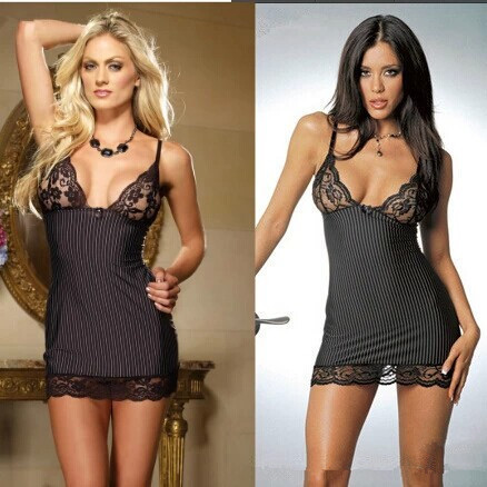 Plus Size Women's Black Lace Stripe Spaghetti Stap Sexy Lingerie Costumes Lingerie Sets Exotic Dresses